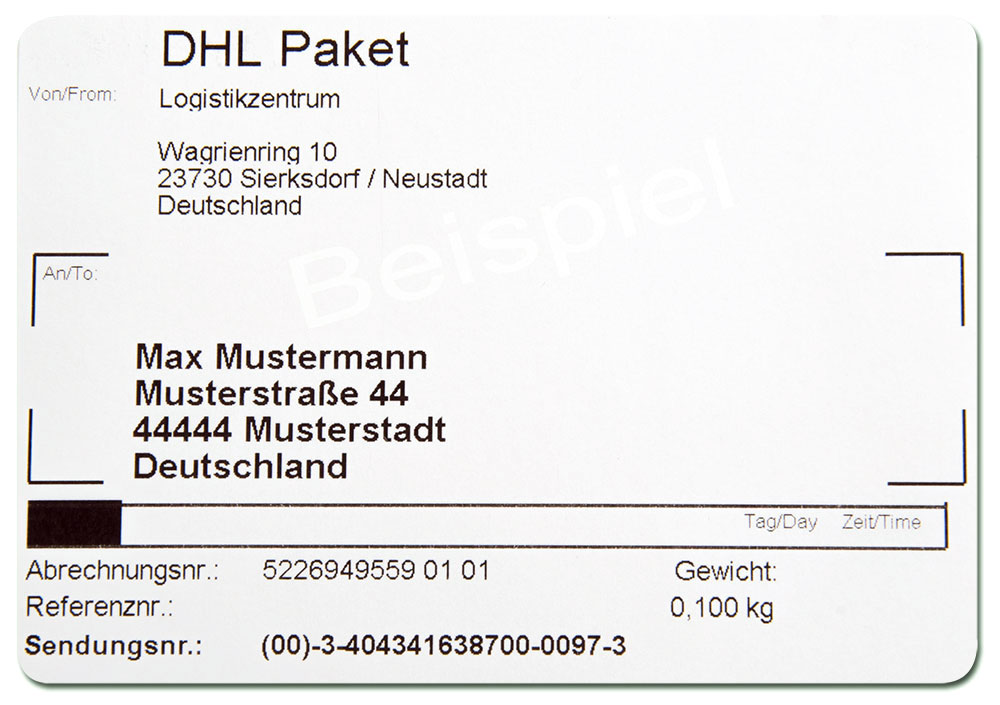 Versandlabel der dollpark GmbH